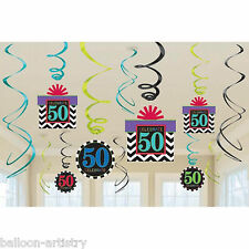 12 Assorted Celebrate 50 In Style 50th Birthday Party Hanging Swirls Decorations