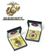U.S. Marine Corps USMC Gold Tone Pocket Watch with 14 Inch Chain and Gift Box