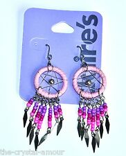 CLAIRE'S, PINK BEAD DREAMCATCHER LONG SILVER DROP EARRINGS