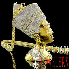 Mens 14K Yellow Gold Silver Big XL Egyptian Queen Nefertiti Lab Diamond Pendant