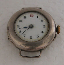 A CUTE ANTIQUE SMALL LADIES SILVER OPEN FACE POCKET WATCH MADE INTO WRIST WATCH