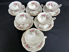6 LAVENDER ROSE RARE, AVON SHAPE TEA CUPS & SAUCERS, GOOD CONDITION ROYAL ALBERT