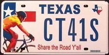"TEXAS "" SHARE THE ROAD - BICYCLE "" TX Graphic License Plate FREE US SHIP"