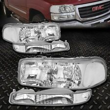 CHROME HOUSING CRYSTAL HEADLIGHT+CLEAR BUMPER LIGHT FOR 99-06 GMC SIERRA/YUKON