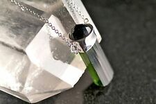 Absolutely perfect emerald green tourmaline natural crystal pendant and chain