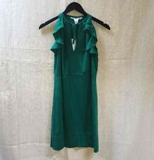 Diane Von Furstenburg BERIT Forest Green Silk Mini Dress Sleeveless EUC Size 6