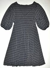 Max Edition Black W/ Cream Colored Circular Pattern V-Neck Dress Small GORGEOUS