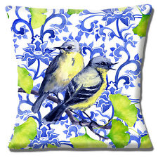 """SHABBY CHIC TWO GARDEN BIRDS PALE BLUE WHITE DESIGN  16"""" Pillow Cushion Cover"""