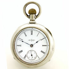 Antique 7-Jewel Open Face Illinois Pocket Watch in 4 Oz. Coin Silver Case CA1890
