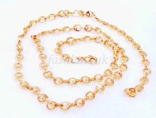 Women 18K Yellow Gold Plated Lobster Clasp Chain Link Necklace 50cm Valentines