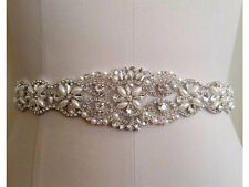 US SHIPPING   White/Ivory Bridal Gowns Wedding Dress Beaded Jeweled Belt Sash