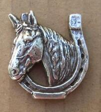"""Lucky Horse w/ horseshoe concho silver finish 1"""" wide  two holes includes screws"""