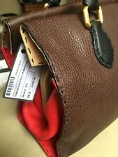 "NWT FENDI Brown, Red & Black Leather Wood  Selleria ""Firenze"" Frame Tote Bag"