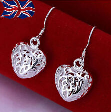 925 Sterling Silver Filigree Heart Earrings Dangle Shiny Love Free Gift Bag UK