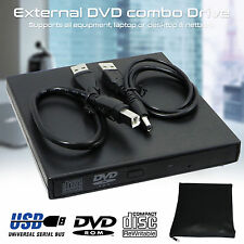 USB 2.0 Portable Slim External DVD ROM CD RW Drive Burner Writer for PC Laptop