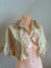 Vintage 1800s Edwardian Cape Wool Silk Ruffles French Raised Antique Embroidery