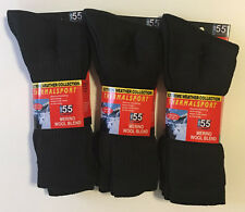 6 Pairs Mens Merino Wool Thermal Black Dress Hiking Camp Sock