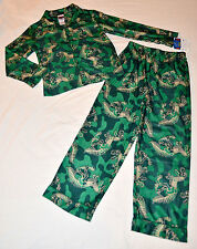 New Dinosaur Pajamas Boys 8 PJs Up Late 2 Piece Flannel Button Front Camo Bones
