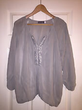MINT VELVET GREEY BLOUSE TOP SIZE 16 VGC