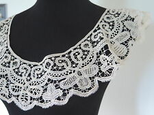Antique Vtg Victorian French Battenburg Handmade Tape Lace Large Collar Flounce