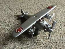 VINTAGE CAST IRON TRI-MOTOR TOY AIRPLANE DOUBLE COCKPIT