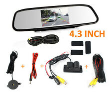 "HD Backup Camera & Radar Sensor+4.3""Car Reverse Rear View Mirror Display Monitor"