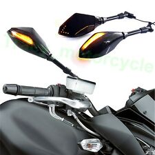 Black Motorcycle LED Arrow Turn Signals Rearview Side mirrors 8-10mm Custom New