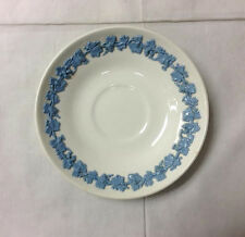 WEDGWOOD EMBOSSED QUEEN'S WARE TEA SAUCER  LAVENDER ON CREAM MADE IN ENGLAND
