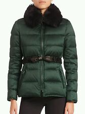 NWT NEW Burberry Brit Redbourne women's green down puffer jacket coat 8 RT $1395