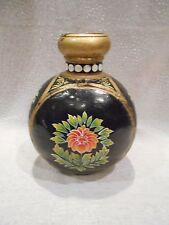 Unique gift - oId brass floral painted round ghee jar,raised brass mouth, India