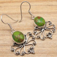 925 Silver Plated Real GREEN COPPER TURQUOISE Oxide Earrings CHEAPEST SHIPPING