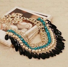 Fashion Resin Beads Pendant Chain Crystal Choker Chunky Statement Bib Necklace