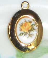 #1444A  Vintage Locket Limoges Yellow Rose Oval Little Girl Child Gold Tone NOS