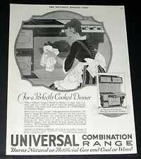 1919 OLD MAGAZINE PRINT AD, UNIVERSAL COMBINATION RANGES, BURN GAS COAL OR WOOD!
