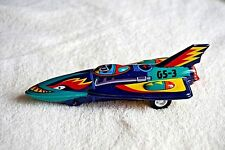 VINTAGE Yonezawa Y Tin Toy Friction Blue Space Patrol Rocket Made in Japan 6""