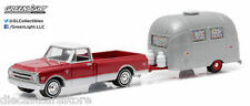1968 CHEVROLET C-10 AIRSTREAM BAMBI SPORT HITCH & TOW 6 1/64 GREENLIGHT 32060 B