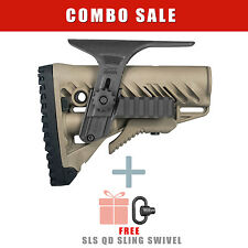 FAB Defense TAN Stock with BLACK Dual Picatinny Rail Cheek Piece - GLR-16 PCP TB