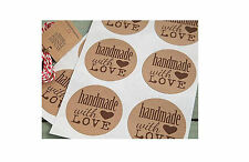 140 FULL COLOUR (25mm Round) Brown Kraft Paper Labels / Stickers CUSTOM PRINTED