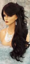 "28"" WAVY LONG THICK HEAT FRIENDLY WIG COLOR #1B BLACK GORGEOUS SEXY USA 1022"