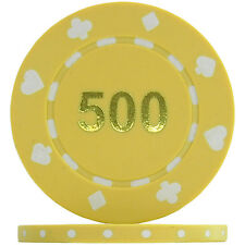 Suited Numbered Poker Chips - Yellow 500 (Roll of 25)
