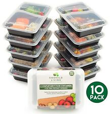 |10 pack| 2 Compartment Meal Prep Food Containers Bento Box Tupperware Set wi...