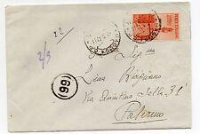 STORIA POSTALE 1947 AVVENTO REPUBBLICA LIRE 4 SU BUSTA RAGUSA 3/3 D 07293