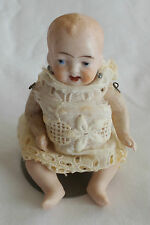 "ANTIQUE MINIATURE BISQUE BABY DOLL 3 1/2""H.c WITH STAND GERMANY CARL HORN"