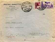 1947 AVV.REPUBBLICA £.5 +DEM.£.20 ann.BIELLA, 16.04.47 per BUENOS AIRES (244546)
