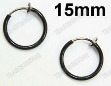 CLIP ON 1.5cm BLACK HOOP EARRINGS hoops PUNK,GOTH,EMO