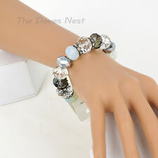 TRIFARI Genuine GLASS BEADS Stretch BRACELET Faux CRYSTALS Clear Gray & White