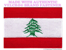 LEBANESE FLAG PATCH LEBANON EMBROIDERED ARAB EMBLEM w/ VELCRO® Brand Fastener
