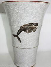 Bing & Grondahl, rare vase crackle art déco fish, craquelé porcelain