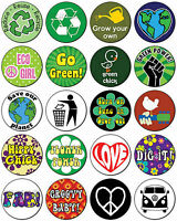 RECYCLE / PEACE / LOVE / HIPPY (Various Designs) Button Badge 25mm / 1 inch