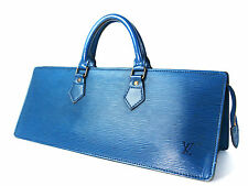 Authentic LOUIS VUITTON SAC TRIANGLE Epi Leather Blue Hand Bag LH0487
